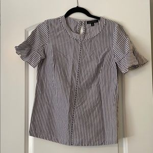Blue pink and white banana republic striped blouse